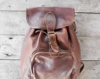Vintage Brown Leather Backpack , Travel Backpack , Daypack / Medium / Unisex