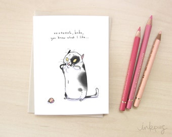 Morbid humor funny cat Valentine - Cat Valentine's Day card for cat lover, funny love card with cats, dark humour card by Inkpug