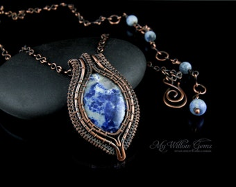 Elven inspired Antiqued Copper Sodalite Necklace - pendant, gemstone, jewelry, wire wrapped, wire, elven, rustic, bohemian