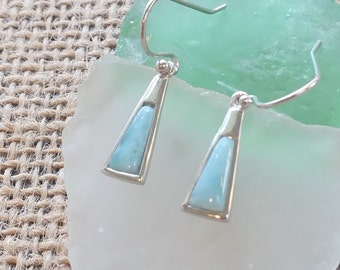 Tapered Larimar Earrings with  925 Sterling Silver  - Dominican Larimar - Calming Stone