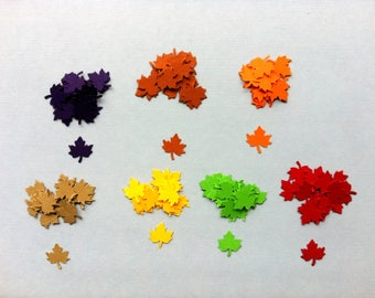 Fall Leaf Confetti - Maple Leaves - Fall Party Decor - Thanksgiving Decor - Autumn Wedding - Friendsgiving -  Autumn Table Confetti