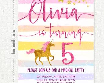 rainbow unicorn birthday invitation, girls 5th birthday party invitation, gold glitter stars pink coral purple watercolor stripes, printable