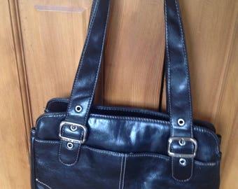 Aurielle Shiny Black satchel shoulder handbag with silver tone hardware