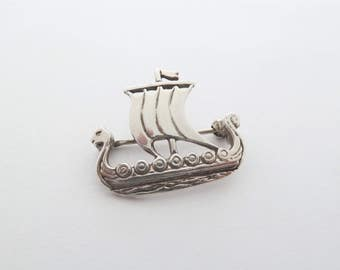 Signed Malcolm Gray Ortak Vintage Silver Viking Ship Boat Brooch Made on Orkney Islands