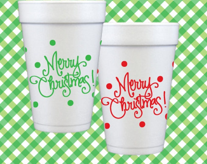 Christmas Foam Cups (Qty 12) - Red & Green Polka Dot Cups (assorted)