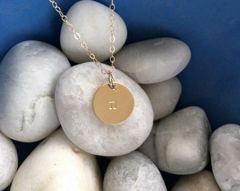 gold filled, stamped initial necklace, gold monogram necklace, hand stamped charm, hand stamped necklace, stamped id jewelry