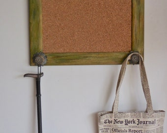 Rustic Cork Board Organizer Green Distressed Wood Frame Repurposed/Graduation Mothers Day Gift/Office Decor