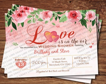 Valentines Wedding Shower invitation. Love is in the air pink watercolor floral digital printable invitation. VBS04