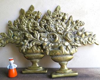 Large Ornate Brass French Floral Basket, Floral Brass Casting, Decorative Back Plate, Brass Flower Wall Hanging