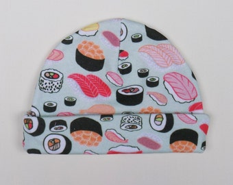 trendy baby clothes, sushi, hat, infant, newborn, baby gift ideas, funny, organic cotton, eco friendly, hipster baby clothes, gender neutral