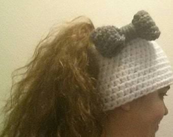 Crocheted Messy Bun / Ponytail Hat with bow
