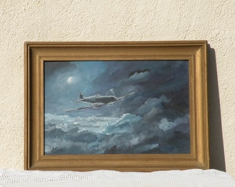 Original Spitfire painting, nocturnal painting, original acrylic painting, aviation art, Spitfire art, man cave, man, men, military