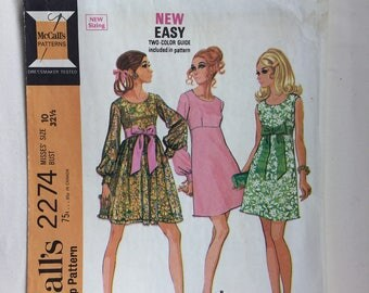 Vintage 1970's McCall's 2274 High Waisted Dress In 3 Versions Size 10 Bust 32.5 Uncut