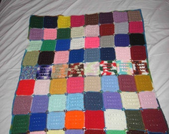 "Afghan Crochet Lap Blanket 30"" x 35"" Made In Multi Color Squares,Handmade, Lap Blanket Crocheted"