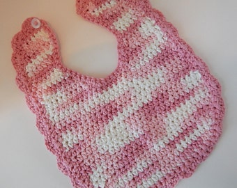Baby Bibs - Crocheted - Pink & White Ombre - Pink Camo - Washable - Adorable Bibs - 100% Cotton