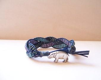 Pewter Hippopotamus Beaded Braided Leather Wrap Cuff Bracelet, Leather Jewelry, Hippopotamus Jewelry, Hippo Jewelry, Hippopotamus Bracelet