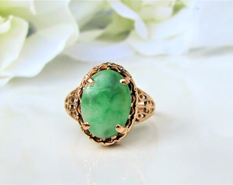 vintage oval cabochon nephrite jade ring 14k yellow gold filigree alternative engagement ring unique wedding ring - Jade Wedding Ring