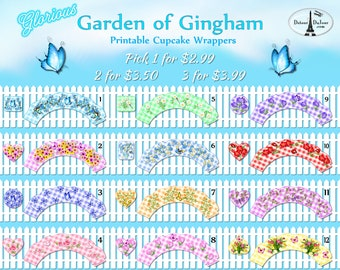 1/2 OFF COUPON Glorious Garden of Gingham Cupcake Wrappers Printable, Your Choice of 12 Cupcake Holders, Mix & Match Cupcake Wraps GC 001