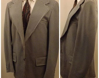 70s Blue Houndstooth Men's Sport Coat Size 40 R by Towncraft