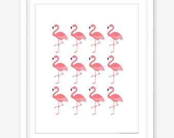 Printable flamingo wall art - flamingo print - printable art - living room art - printable modern art - flamingo art - DIGITAL DOWNLOAD