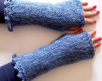 Texting wrist warmers,handmade fingerless gloves,denim gloves,knit gloves,wrist warmers,handmade fingerless, winter gear, texting gloves.