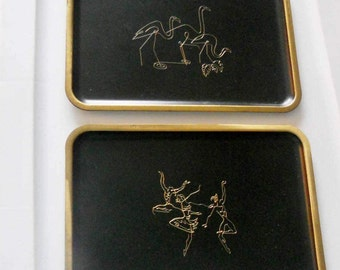 Vintage etched plaques from the 1960s