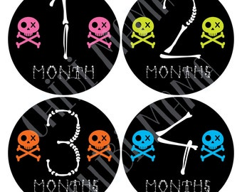 Baby Goth Month Stickers, Month Stickers, Cute Baby Punk Stickers, Cute Goth Baby Stickers, Kawaii Goth Baby, Baby Goth Gift, Cute Monthly