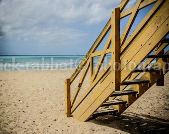 Barbados Beach Photo Fine Art Photography Blue Sky Caribbean Island Photography Turquoise Water Nautical Theme Lifeguard Tower Warm Colors