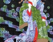 Yukiko  5x7 open edition print - Japanese cat Kimono art