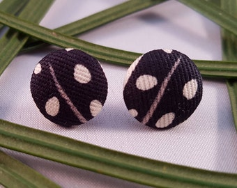Fabric Covered Button Stud Earring - Hypo-Allergenic Surgical Steel