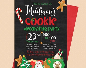 Holiday Cookie Decorating Invitation and Cookie Chalkboard // Cookie Swap Invite // Cookie Exchange Birthday //  Christmas Party // Red