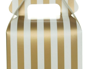 Favor Candy Boxes - Small Gable Gift Boxes, Gold Stripe (12 Pack) - Treat Box Wedding Favor Boxes, Candy Box Party Favors