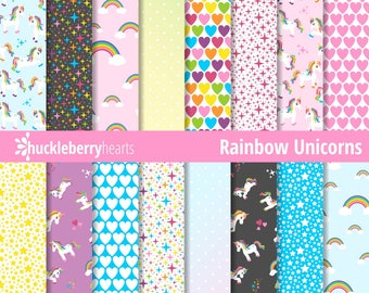 Unicorn Paper, Digital Unicorn Paper, Unicorn Patterns, Rainbow, Printable, Commercial Use