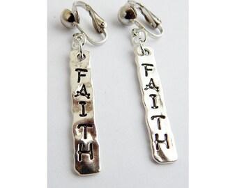 Faith Clip On Earrings Silver Faith Jewelry Dangle Gift Ideas Faith Earrings Christian