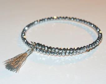 Silver Crystal Bracelet with Fringe Charm