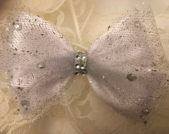 White Satin Bow/Rhinestone, Bow, Pageant Bow/Satin/Tulle, 4 Inches, Hair Accessories, Wedding  Accessory, Bow, Holiday/Headband,Girls Baby
