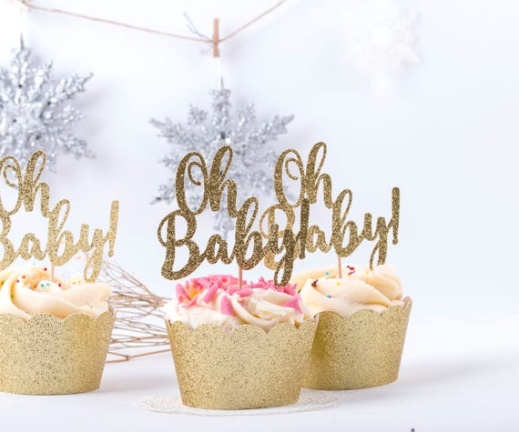 Oh Baby Shower Toppers Cupcake Party Picks Gold Cupcake Toppers Decorations Food Decoration  Baby Gold Shower Party Supplies
