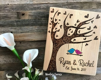 Custom Wedding sign, Custom wood sign, Tree of hearts, Wedding date sign, Personalized wedding gift,  Anniversary sign, Rustic wood sign