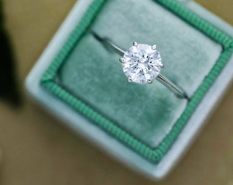 3 carat round cut solitaire diamond engagement ring 14k white gold 6 prongs