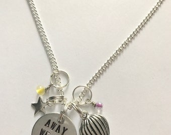 "Disney Parks Disney World Festival of Fantasy Parade Inspired Hand-Stamped Necklace - ""Away We Go"""