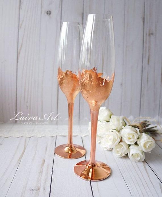 Wedding champagne flutes champagne glasses rose gold wedding for Wedding champagne flutes