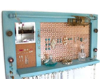 Jewelry Organizer - Jewelry Hanger - Wooden Wall Hanging Jewelry Shelf with Mirror