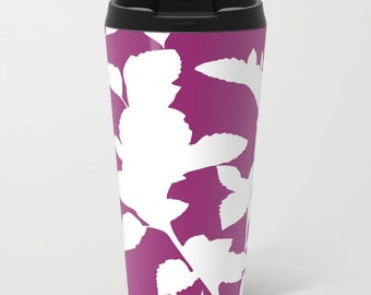 Botanical Metal Travel Mug - Violet Stainless Steel Travel Mug With Lid - Gift For Women - Aldari Home