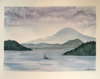 Mt. Baker, Pacific Northwest ORIGINAL watercolor Washington state, San Juans islands, mountain, sea, sailboat,landscape, seascape, wall art.
