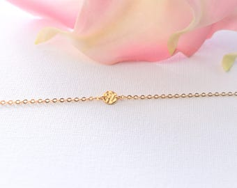 Hammered Gold Coin Necklace/ Hammered Charm Necklace/ Gold Coin Necklace
