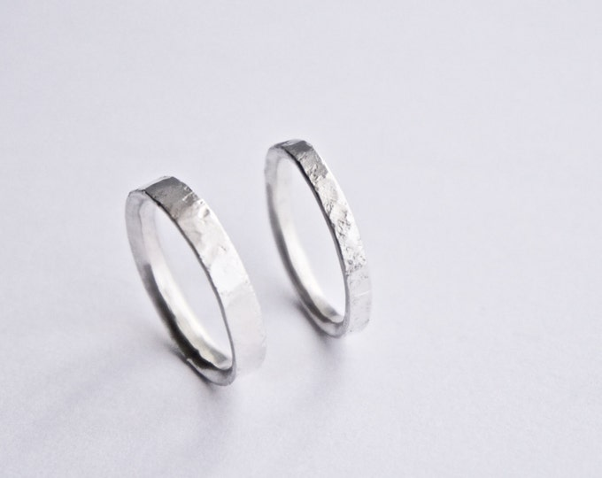 Silver Wedding Ring Set - Distressed Texture - Unique Wedding Band Set - Recycled Sterling Silver