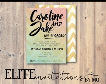 Ombre Engagement Invitation | Calligraphy, Brush, Gold