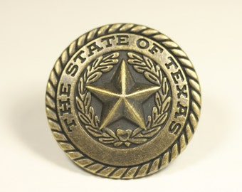 The State Of Texas Knob - Antique Brass