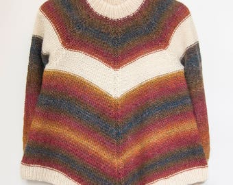 Raglan Womens Sweater, S/M, Hand Knit Pullover, 100% Wool, Womens Jumper, Multicolor Sweater, Womens Clothing, Gift For Her, READY TO SHIP