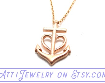 Nautical Inspired Heart and Anchor Pendant Necklace in Rose Gold  | Handmade Minimal Jewelry